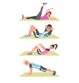 happy people in plank on mat lifting legs vector image vector image