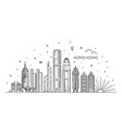 hong kong skyline in linear vector image vector image