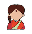 indian woman cartoon vector image vector image