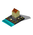 isometric 3d house by sea restaurant denmark co vector image
