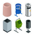 isometric set of metal basket bin for waste paper vector image