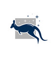 kangaroo animal logo jumping vector image vector image
