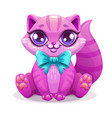 little cute cartoon kitten icon vector image vector image