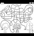 maze with woodpecker and trees coloring page vector image vector image