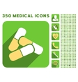 Pills Icon and Medical Longshadow Icon Set vector image