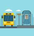 school bus station concept banner flat style vector image