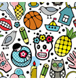 seamless pattern with doodle characters and vector image vector image