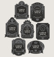 set black and silver ornate labels vector image