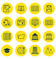 set of 16 school icons includes document case vector image vector image