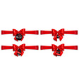 set of red bows with horizontal ribbons and sale vector image
