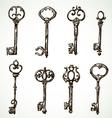 Set of vintage keys drawings vector image vector image