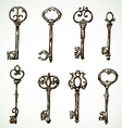 set vintage keys drawings vector image vector image