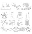 sewing atelier outline icons in set collection vector image vector image