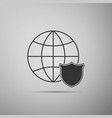shield with world globe icon isolated on grey vector image vector image