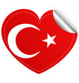 sticker design for turkey flag in heart shape vector image vector image