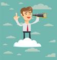 successful businessman with telescope on cloud vector image