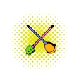 Toilet plunger and brush icon comics style vector image vector image