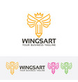 wings art logo design vector image vector image