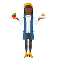 Woman with apple and cake vector image vector image