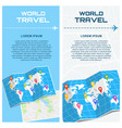 world travel banners with map vector image vector image