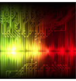 yellow-red wave abstract equalizer and circuit vector image vector image