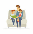 father reads a fairytale - cartoon people vector image