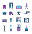 furniture icons home design modern living room vector image