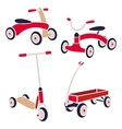 Vintage Kids Toys Bicycle Kick Scooter Red Wagon vector image
