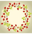 Strawberry frame on the beige background vector image