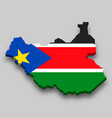3d isometric map south sudan with national flag vector image