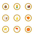 autumn season icons set cartoon style vector image vector image
