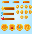 Bright yellow mobile elements For Ui Game - a set vector image