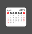 calendar april 2019 year in simple style calendar vector image vector image