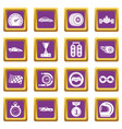 car race icons set purple square vector image vector image