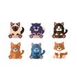 cats different breeds set cute cartoon animals vector image vector image