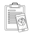 checklist and cellphone in black and white vector image