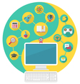 Computer for Education and Spare Time vector image vector image