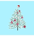 Decorated with toys Christmas tree on a light blue vector image vector image