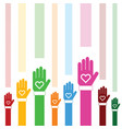donate icon with hand and heart color vector image