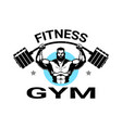 fitness gym logo with athletic man training black vector image