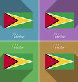 Flags Guyana Set of colors flat design and long vector image