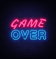 game over neon text design template game vector image