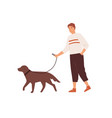 guy walking with cute dog on leash flat vector image vector image