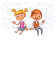 happy children sit on a big blank poster vector image vector image