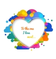 Heart silhouette card colorful clouds abstract vector image