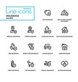 insurance concept - line design icons set vector image vector image