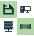 laptop icons set collection of personal computer vector image