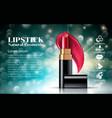 makeup ads charming red lipstick mockup sparkling vector image