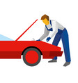 mechanic with wrench repair red sport car vector image vector image