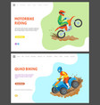 motorbike and quad biking webpages with text set vector image vector image